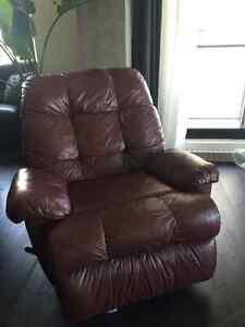 Dark leather recliner