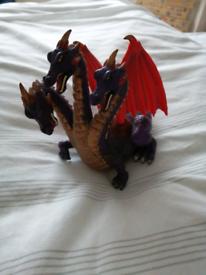 Purple 3 headed dragon toy