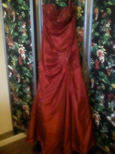 Red Floor Length Ball Gown
