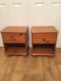 Pair of matching pine bed sides on bun feet