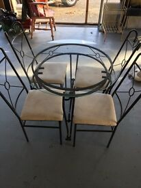 Glass and coated metal table and chair set