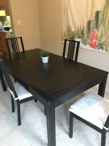 IKEA Dark Wood Dining Table With 4 Matching Chairs