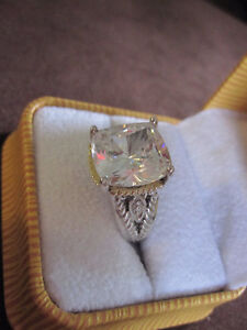Outstanding Sterling Silver 14k Gold Ring With Huge Gemstone