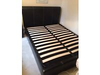 King size leather effect bed