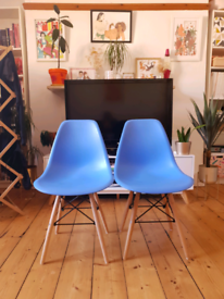 Two blue Eames style dining chairs, like new, £40 for both
