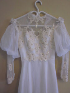 ANTIQUE Handmade Victorian Wedding Gown w/ Lace and Beads-SALE