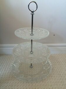 Glass Tiered Dessert Tray Kitchener / Waterloo Kitchener Area image 1