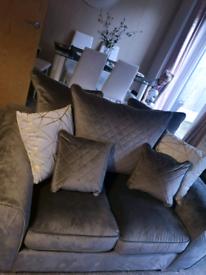 Grey 2 seater suede sofa
