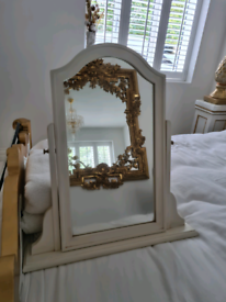 White wood dressing table mirror