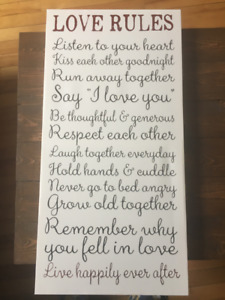 """Love Rules"" Wall Art"