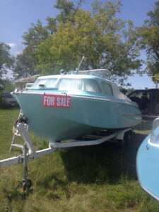 1962 Dorsett San Juan Cabin cruiser with dual axle tilt trailer
