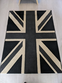 Black, grey and cream union jack rug