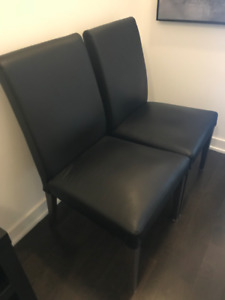 Black Leather Ikea Desk / Dining Chairs