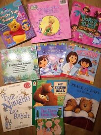 Kids Books; Tinker Bell, Dora, Three Little Pigs, The Tale of a Naughty Rabbit, Peace At Last.