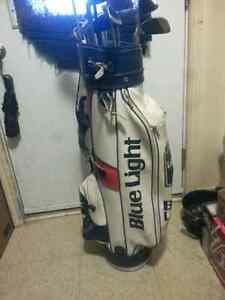Blue light golf bag with clubs