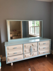 Dresser, mirror and side table