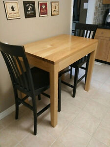 Solid Oak Table and Two chairs