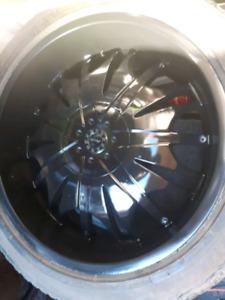 22 inch black deep dish rims 5 bolt universal