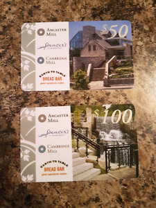 Gift Cards Cambridge Mill, Ancaster Mill, Spencer's & Bread Bar