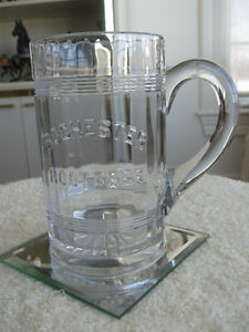 VINTAGE ['80's ] EXTRA-LARGE CLEAR GLASS ROOTBEER STEIN