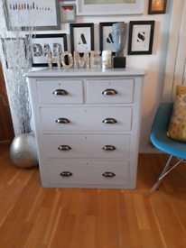 Beautifully Refurbished Solid Wood Vintage Dresser Chest of Drawers