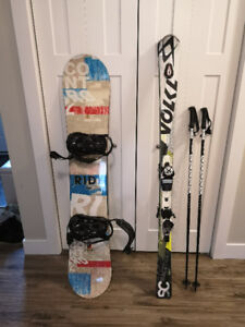 Ski board one for man one for woman helmet and boots