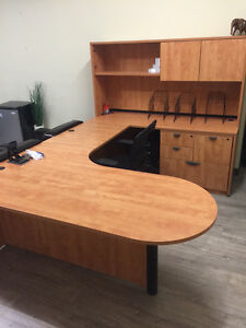 Large Pro U  Shaped Desk + File cabinet + Top Organizer AAA Cond