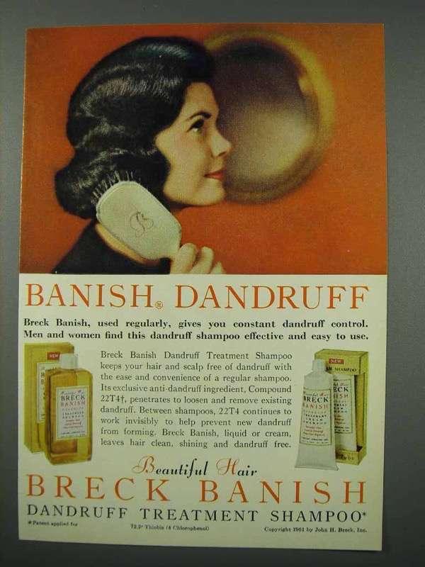 1961 Breck Banish Dandruff Treatment Shampoo Ad