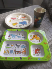 Kids plastic fun plates and disney cup.