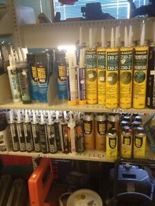 Assorted adhesive and sealant