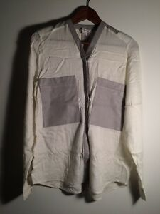 Helmut Lang White Blouse Grey Lamb Leather Pockets Collar Medium