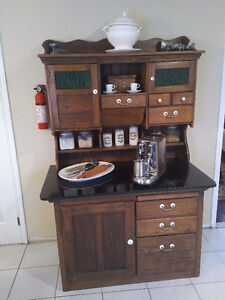 Black Granite top, Hoosier Cabinet with USB and Power Bar