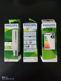 3 X Philips Genie 11w Energy A Class Bulb, BC/B22/Bayonet Cap,