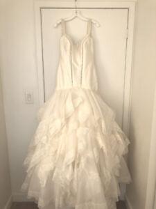 Truly Zac Posen Wedding Dress w Lace Cap Sleeve ZP345002 sz10