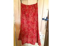 Laura Ashley flowery long skirt red, size 14
