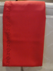 NEW RED XMAS TABLECLOTH (with flower cut-out motif on border)