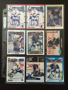 LOT OF NINE (9) CURTIS JOSEPH TRADING CARDS in PROTECTIVE PAGE