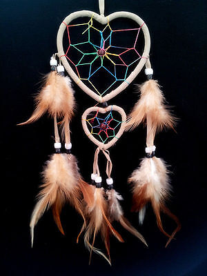 heart-shaped Dream Catcher with feathers car or wall hanging decoration ornament