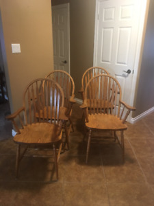 4 Solid Oak Arm Chairs