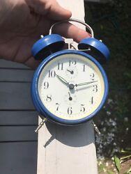 Vintage Alarm CLOCK Twin 2 Bell  Blue Yugoslavia Collectible