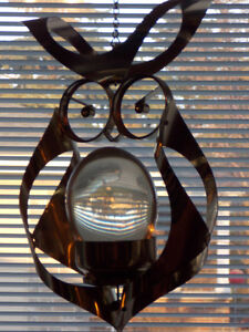 "Beautiful Hanging METAL OWL with Clear Oval ""Egg"" Center"