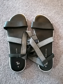 TU Womens Sandals Black and Silver UK 8