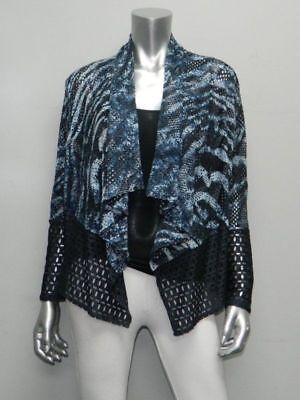 MONA LEAH COUTURE NWT Blue Animal Print Open Front Lace Jacket Blazer sz S $152 Lace Print Jacket