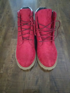TIMBERLAND VELVET RED BOOTS GIRL WOMENS SIZE 4