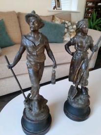 Antique Spelter figurines mine workers