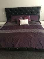 KING LEATHER PLATFORM BED WITH CRYSTAL STUDS