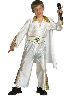 Child 50s Costume The King Of Rock N Roll Pop Star Boys Fancy Dress Outfit - 1950s Boy Costume