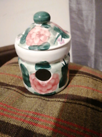 For sale a lovely3 peace set cream pink flower green leaves stork s