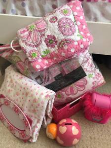 Girls Bedroom Set with quilt, sheets, and matching accessories