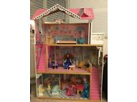 ELC Child's Doll House with furniture and 3 dolls